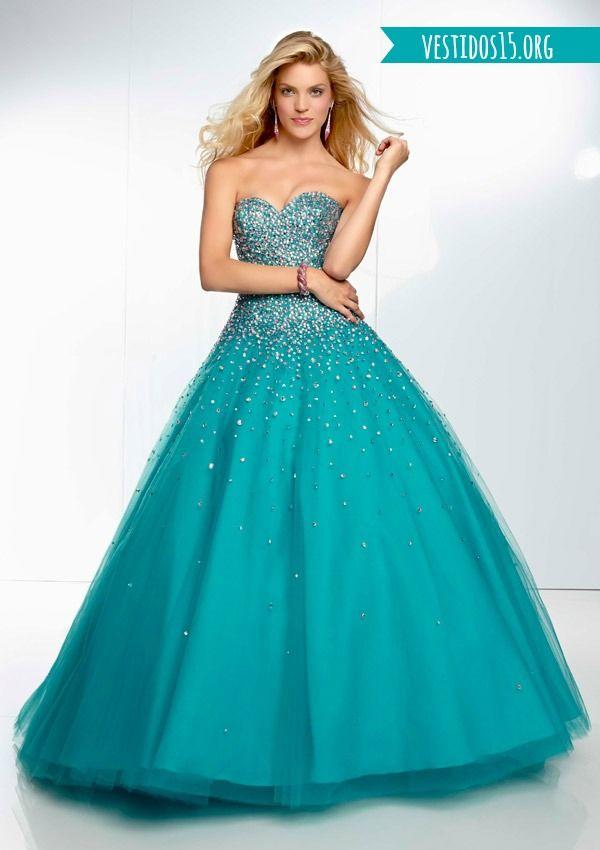 Vestido Azul Turquesa Vestidos Vestido De 15anos Longo E