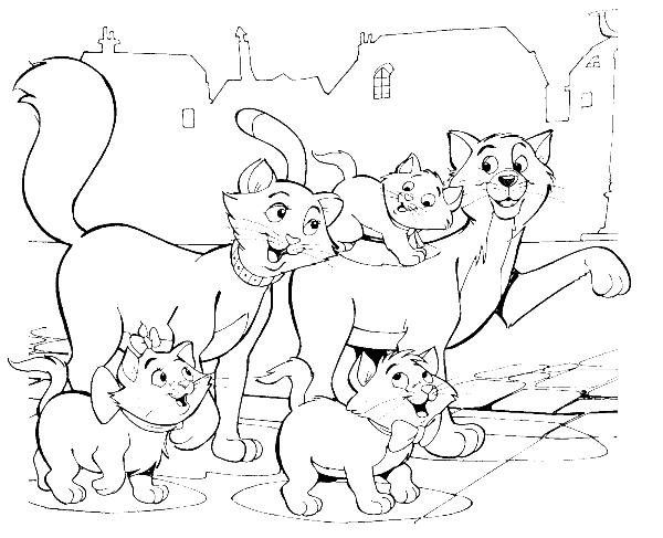 Aristocats Family Being The Road Coloring Pages Disney Coloring Pages Cartoon Coloring Pages Horse Coloring Pages