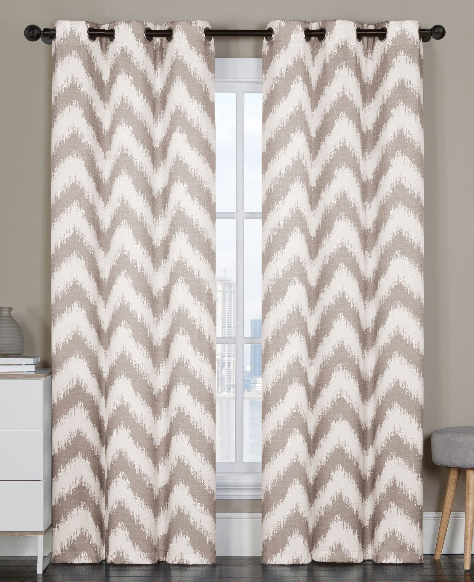 Vcny Athens Blackout Window Curtains Grommet Thermal 2 Panel Set Taupe Chevron 84 Length Discontinued No Longer Available Curtains Drapes Grommet Grommet Curtains