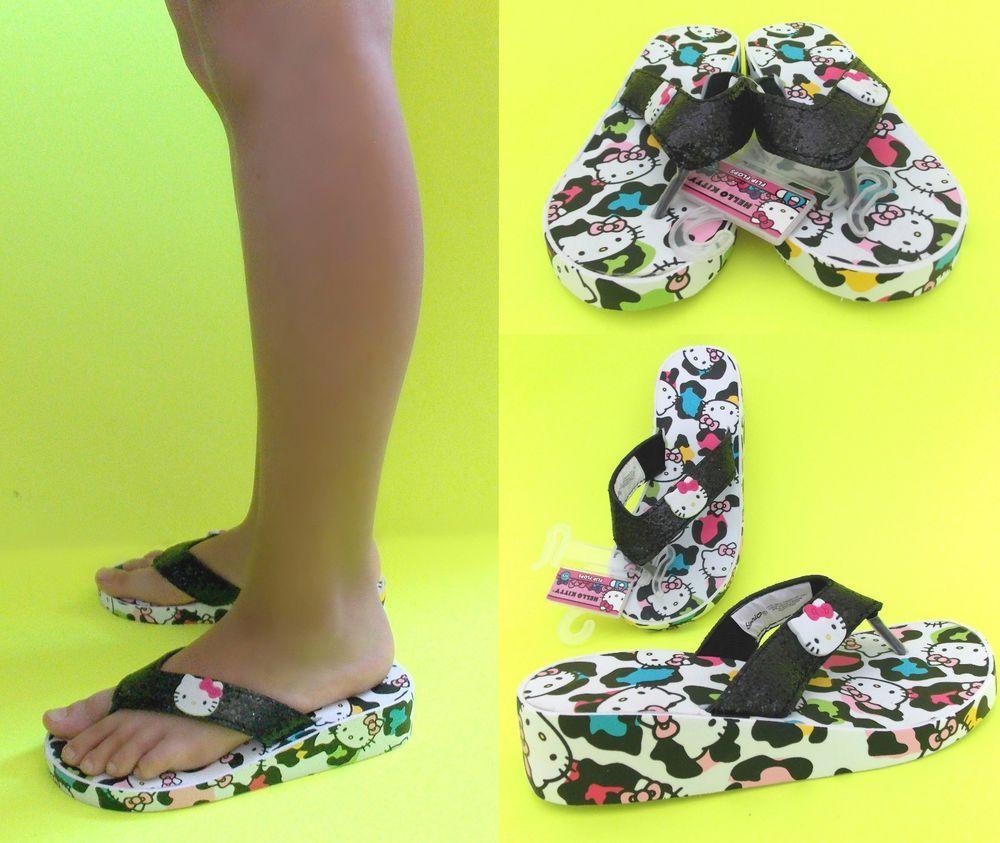 f42266987 NWT Sanrio Hello Kitty Low EVA Wedge Flip Flops for GIRLS 11-12,13-1  #SanrioHelloKitty #LowWedgeFlipFlops