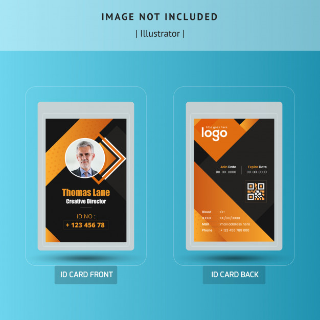 Abstract Dark Id Card Template Vector Design Id Card Template Graphic Design Business Card Name Tag Design