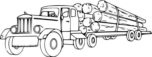Log Truck Coloring Pages Paintbrush Art Ideas Truck Coloring