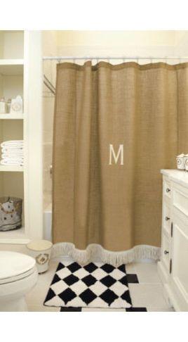 Monogrammed Burlap Shower Curtain