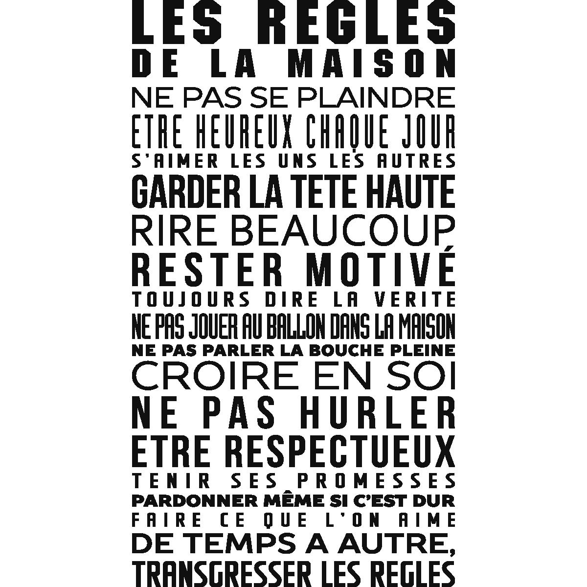Sticker Les Règles De La Maison   Stickers Citations Français   Ambiance  Sticker