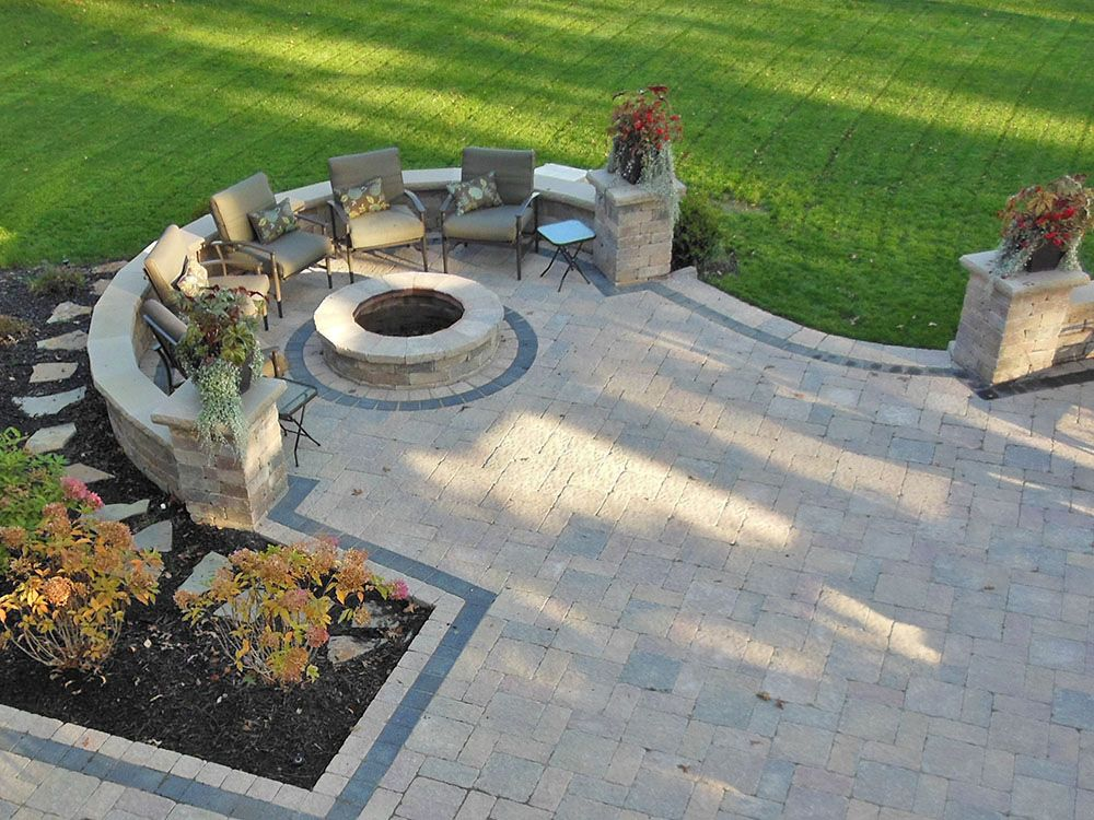 Bay Village, Ohio-Paver patio design with gas firepit using Unilock ...