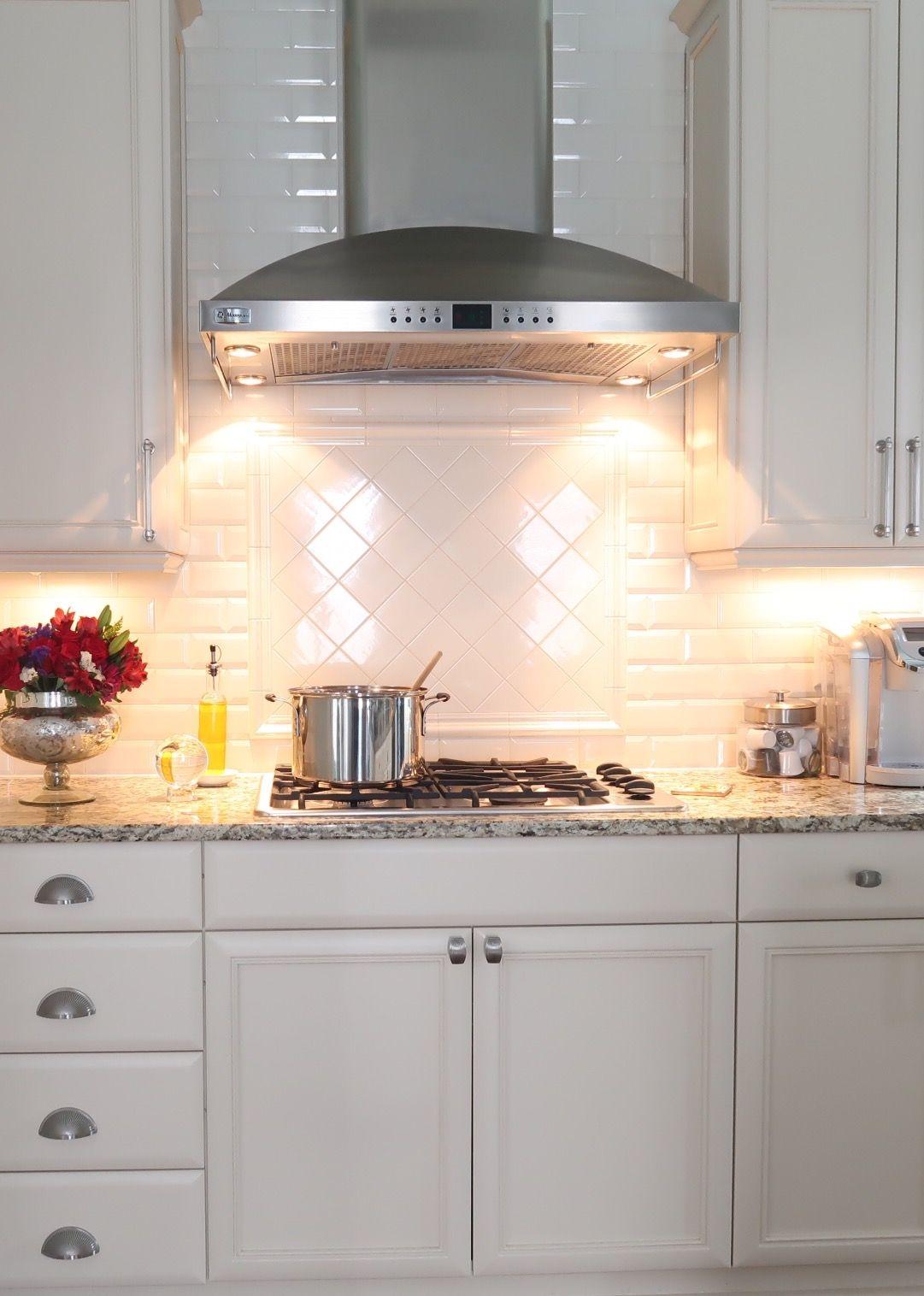 Subway Tile Backsplash And Feature Design Under Hood Kitchen