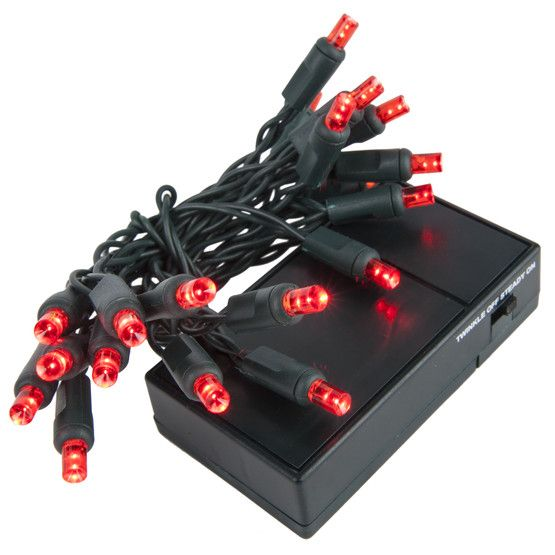 20 red battery operated 5mm led christmas lights green wire