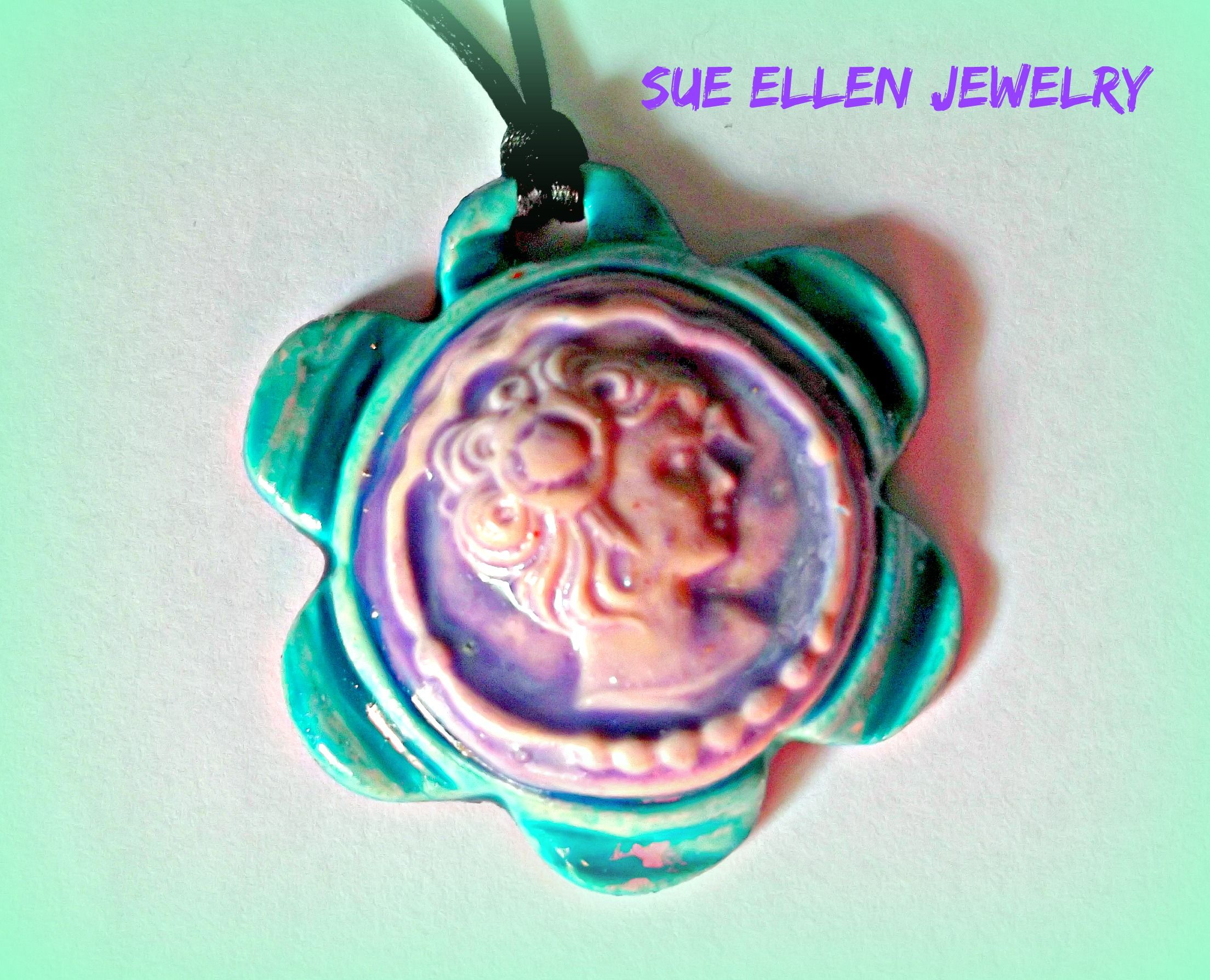 Polymer clay cameo pendant