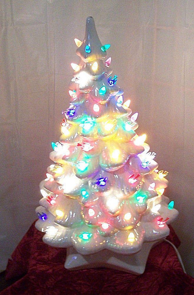 vintage 19 large light up ceramic christmas tree white pearl glaze 2 part