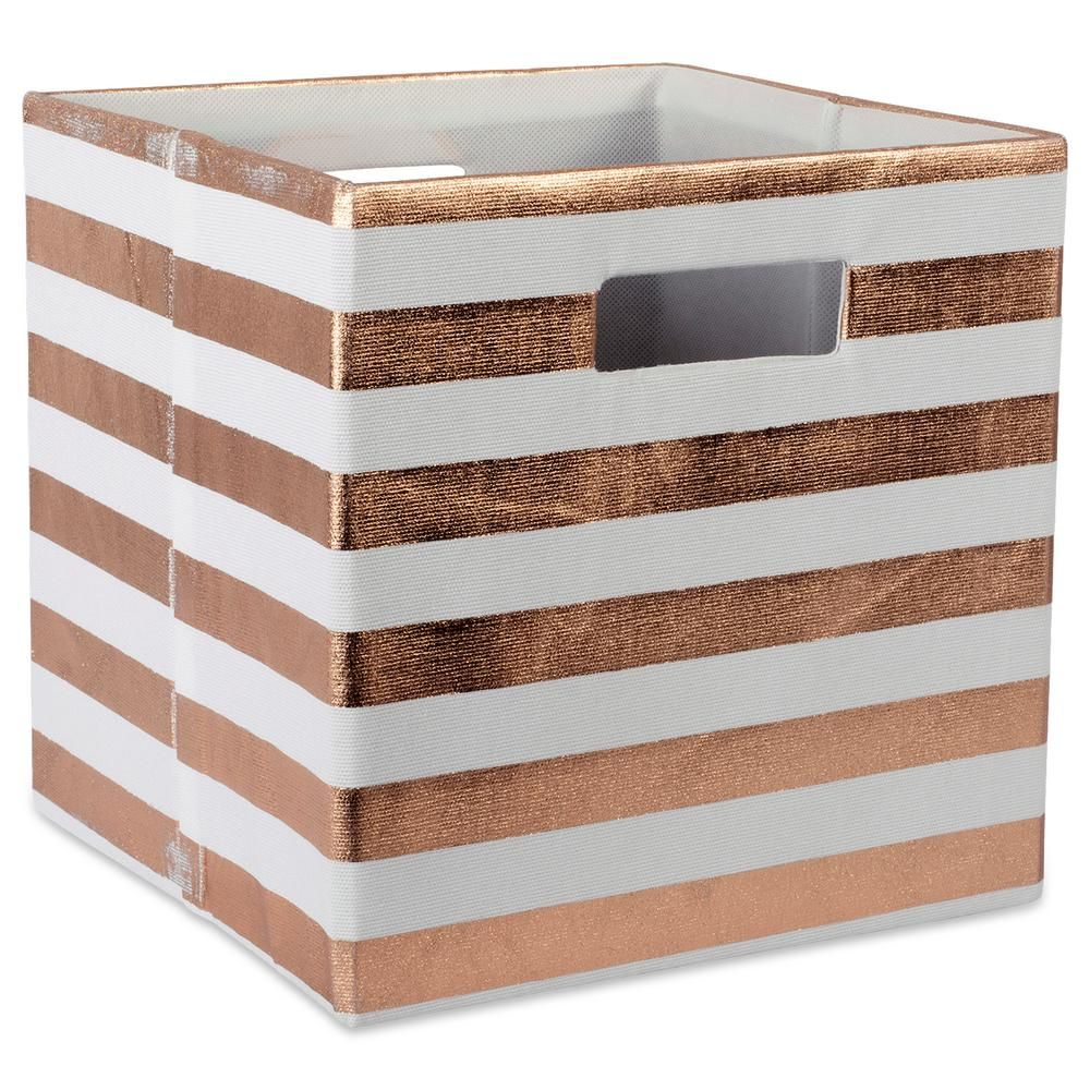3dbf2dbd7961 DII Square Polyester Stripe Storage Cube, Brown in 2019   Products ...
