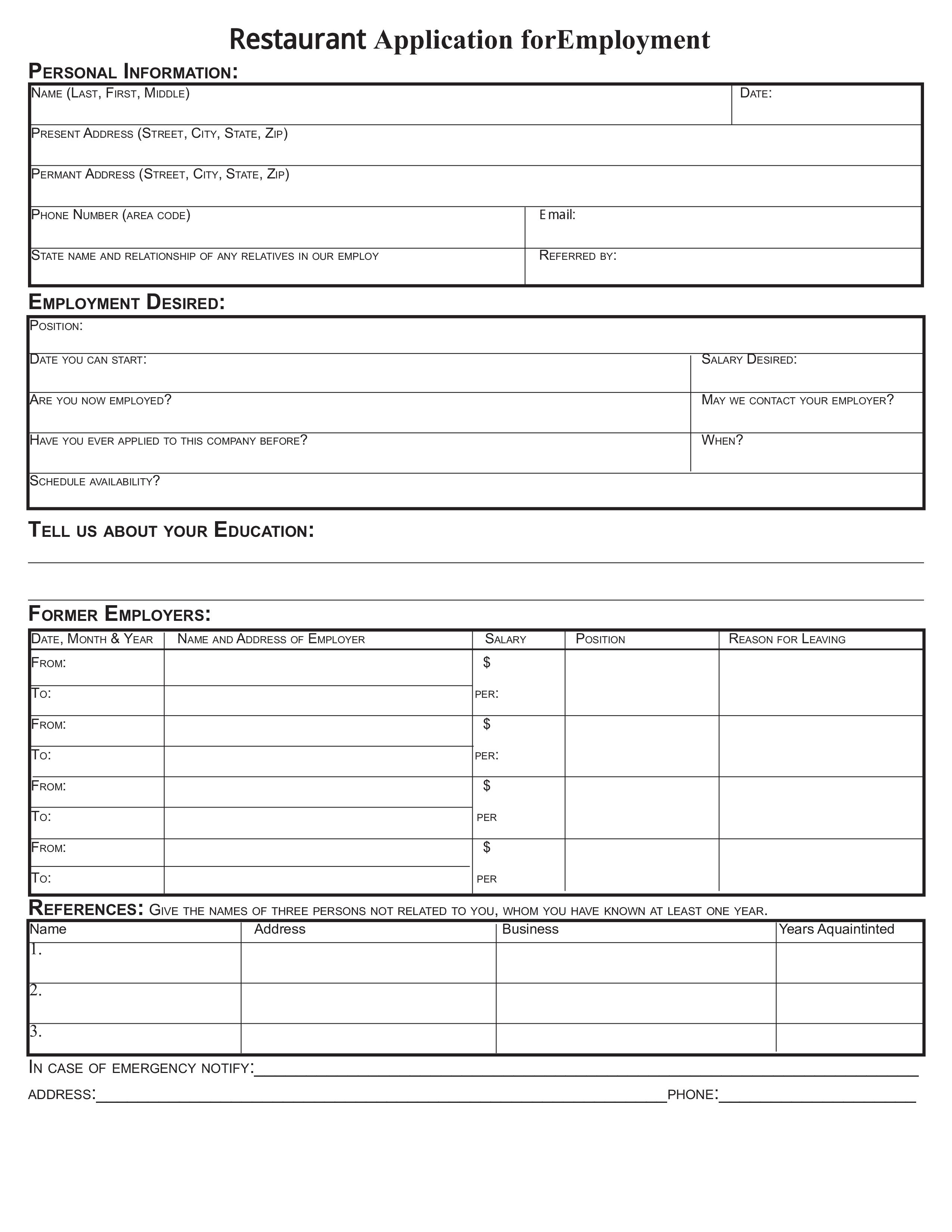 Restaurant Job Application Form - How to create a Restaurant Job ...