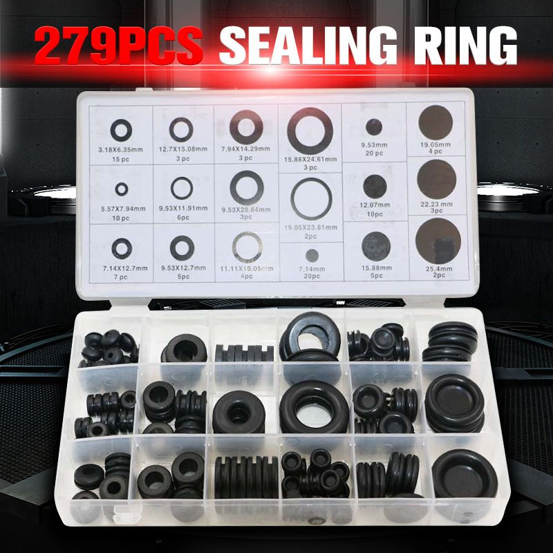 279pcs Black Rubber Grommet O Ring 18 Assortment Seal Ring Machine Parts Seal Apron For Protects Wire Cable Hose Custom Part Rubber Grommets Hardware Grommets