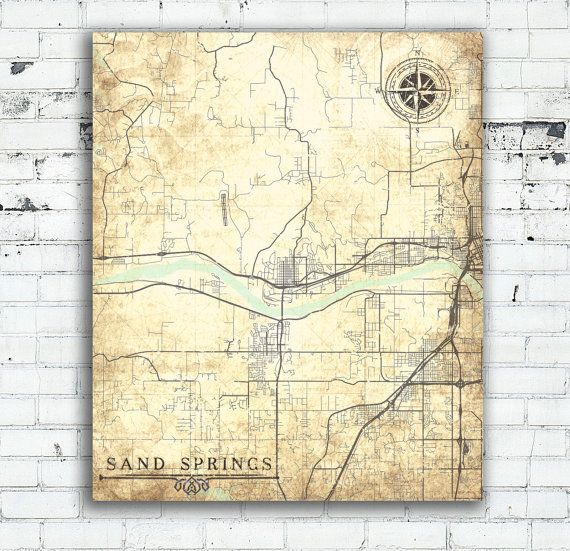 SAND SPRINGS OK Canvas print Oklahoma Ok Vintage map City Vintage