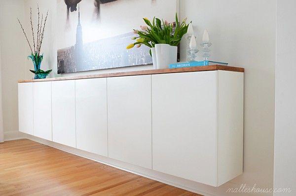 floating sideboard diy remodelaholic floating credenza pinterest. Black Bedroom Furniture Sets. Home Design Ideas