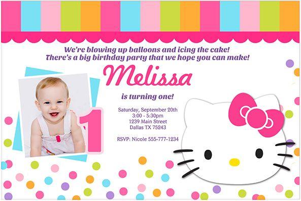 Download Now FREE Template Hello Kitty St Birthday Invitations - Sample birthday invitation hello kitty