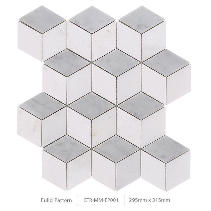 Polished White Thassos Cube 3d Non Splip Bathroom Wall And Floor Mosaic Tile White Mosaic Tiles Tile Bathroom Mosaic Floor Tile