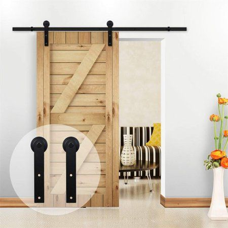 12ft Wood Door Sliding Track Space Saving Door Roller Sliding Barn Door Hardware Closet Kit For Single With Images Wood Barn Door Barn Doors Sliding Sliding Door Hardware