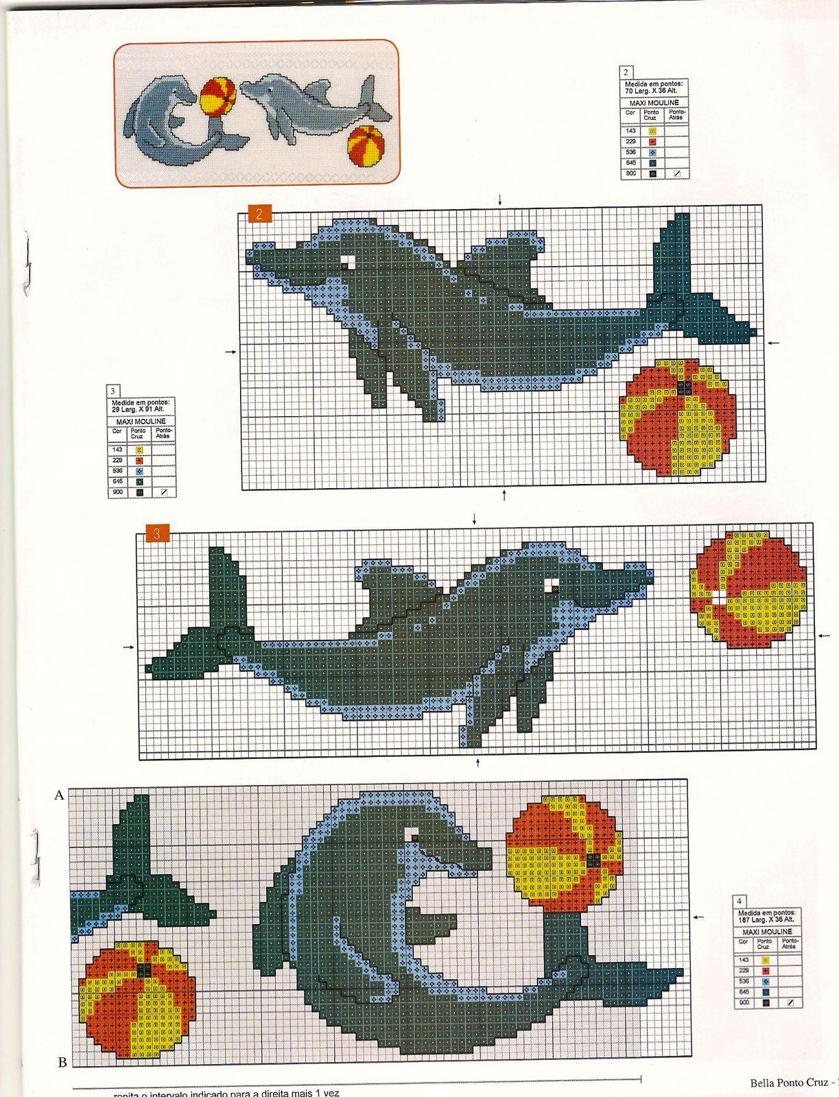 Pareja de delfines ... | Punto De Cruz | Pinter…