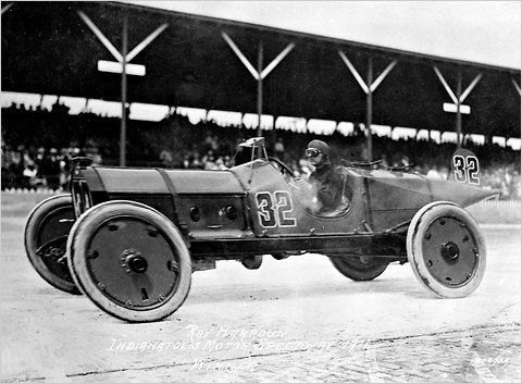 "Ray Harroun, driving the Marmon 'Wasp' toward victory at the first Indianapolis 500, in 1911.<br />""/><span class="