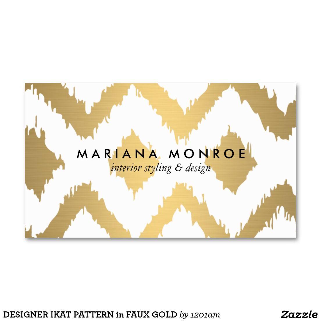 DESIGNER IKAT PATTERN in FAUX GOLD Business Card | Ikat pattern ...