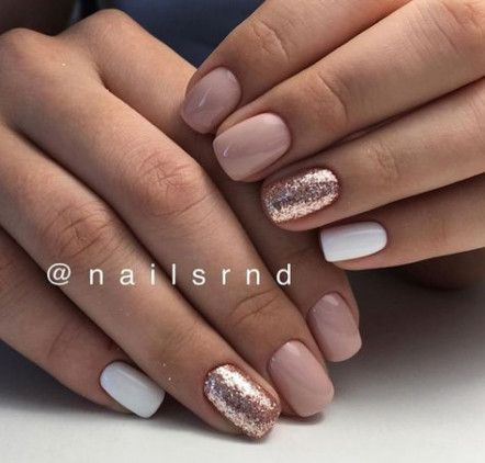 Trendy Spring Manicure Ideas Nude Nails Glitter 29 Ideas