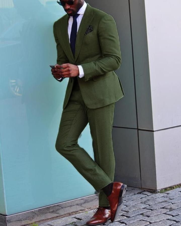 Green Wedding Suit /Tuxedo for Men,Formal Prom Party Suits two Pieces outfits (jacket +pants) #men'ssuits