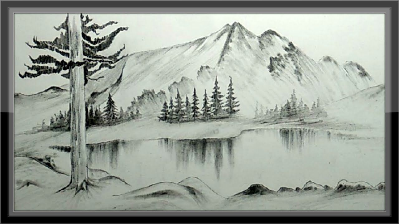 Easy pencil drawing mountain landscape scenery step by