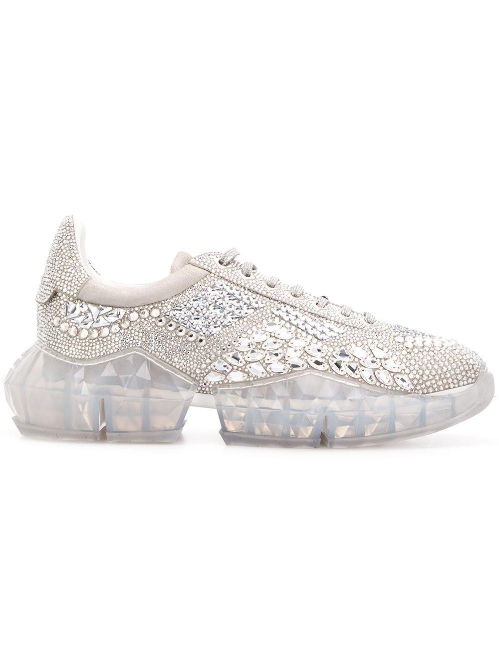 ebd2d4a027 JIMMY CHOO JIMMY CHOO 钻石形厚底运动鞋 - 银色. #jimmychoo #shoes ...