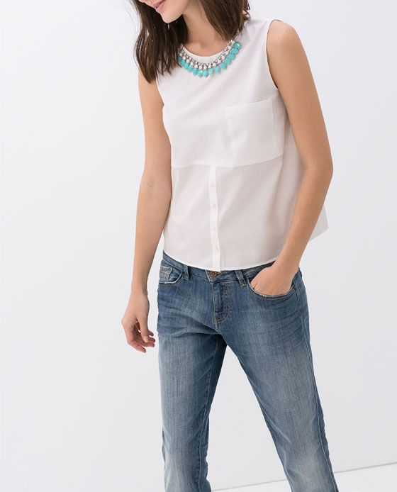 Zara woman combined office Handbags Zara Woman Combined Top With Necklace And Pocket San Joaquin Delta College Zara Woman Combined Top With Necklace And Pocket Style