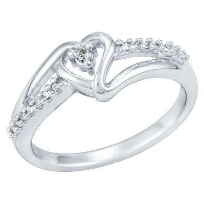 Diamond Heart Ring In 10k Gold Available At Helzbergdiamonds With Images Heart Promise Rings Diamond Ring Gifts Helzberg Diamonds