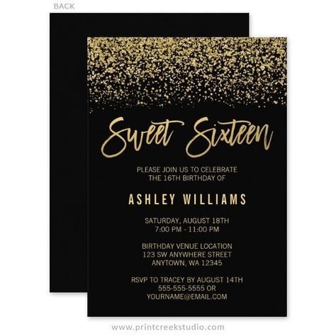 23 free printable birthday invitations downloadable free 23 free printable birthday invitations downloadable glamorous black and gold glitter sweet 16 birthday party filmwisefo Image collections