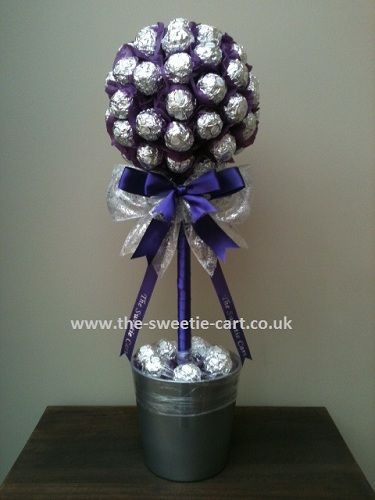 Coloured ferrero rocher candy tree bouquets