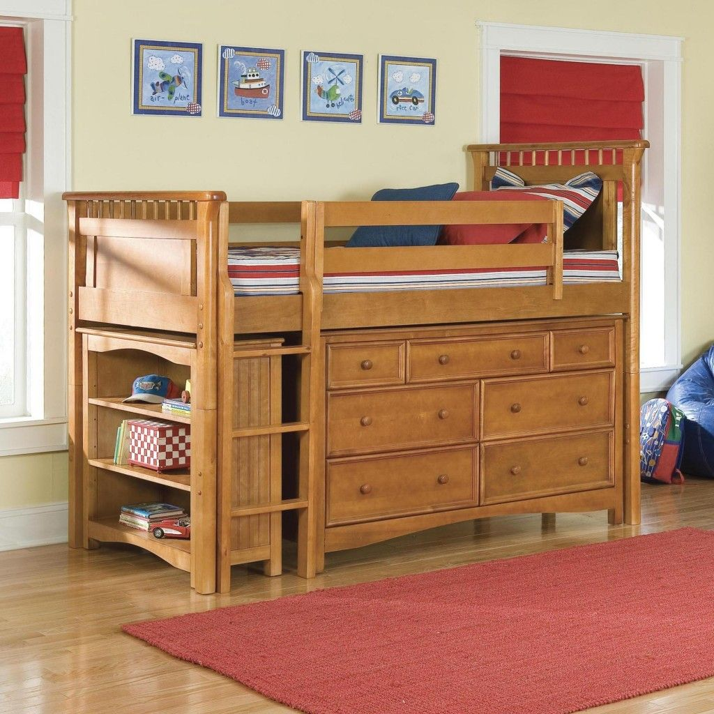 Low loft bed with roll in/out desk, and 8 spacious drawers