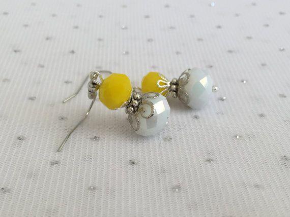 Yellow Beaded Dangle Earrings Yellow Wedding by CherishedJewelryCo