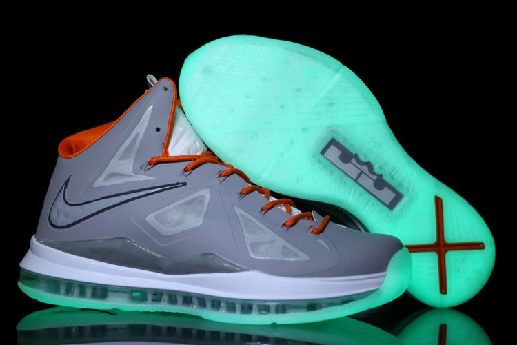 Discount Grey Orange Glow in the Dark Nike Lebron X Basketball Shoes Store
