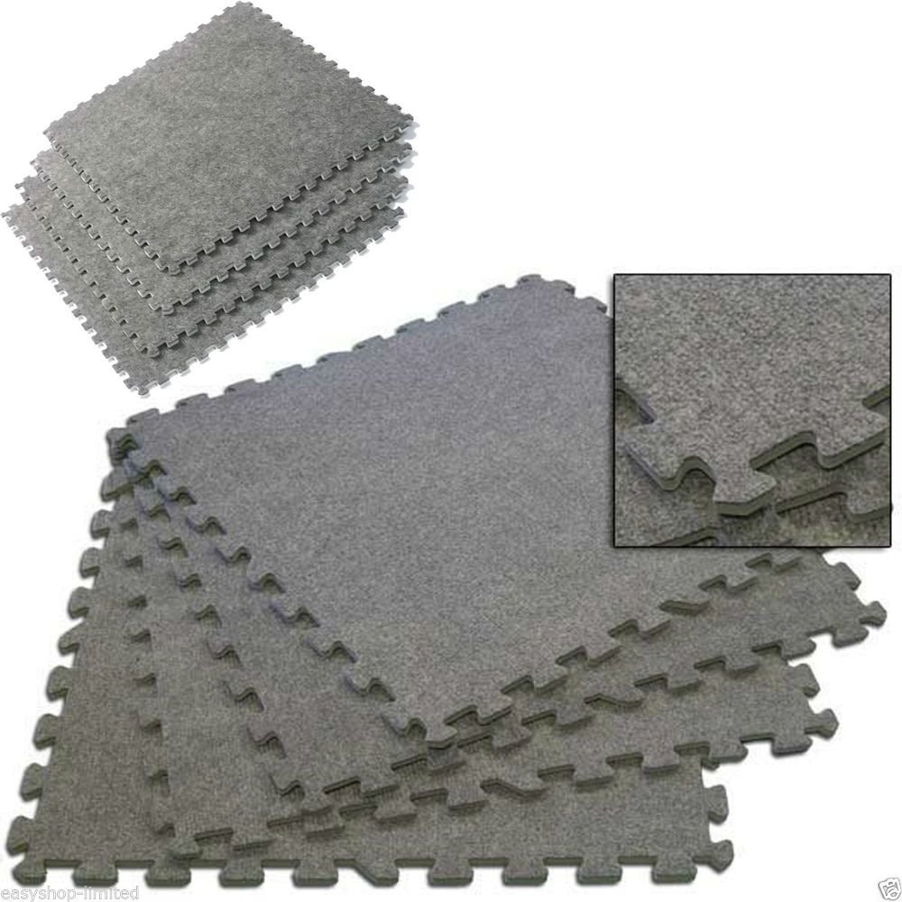 Grey Carpet Cushion Interlocking Soft Foam Exercise Floor