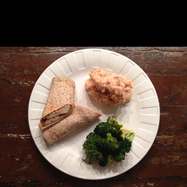 Salsa Chicken Whole Wheat Wrap, Mashed Parsnips & Purple Carrots, & Roasted Broccoli