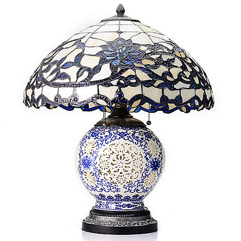 Tiffany Style 22 Quot Opal Stained Glass Table Lamp W Ceramic