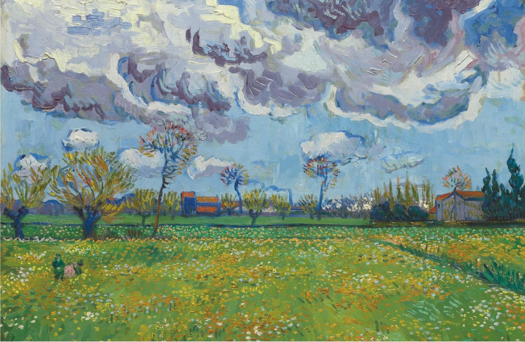 Landscape Under A Stormy Sky 1888 Artist Van Gogh Vincent Van Gogh Paintings Van Gogh Paintings