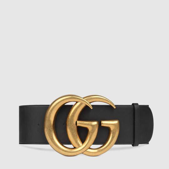 Gucci Cinturón Ancho de Piel con Doble G  acd8d59a284