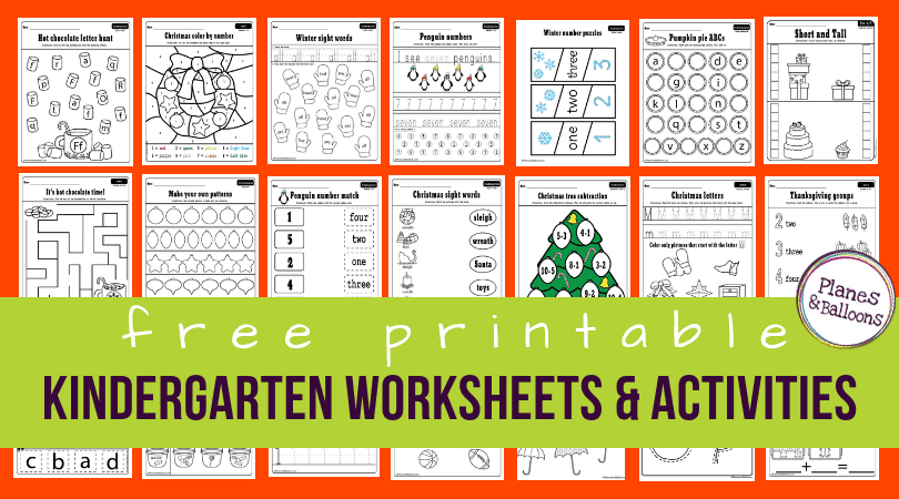 400+ Free Printable Worksheets For Kindergarten INSTANT Download - Planes &  Balloons Let's Make Learning Fun! Kindergarten Worksheets Free  Printables, Kindergarten Worksheets Printable, Kindergarten Worksheets