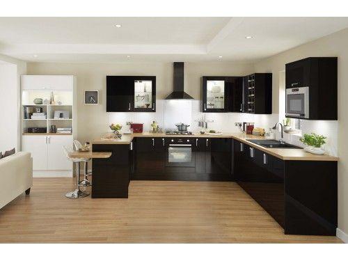Elancon Noir Brillant Parquet Cuisine Cuisine Noire Et Credence