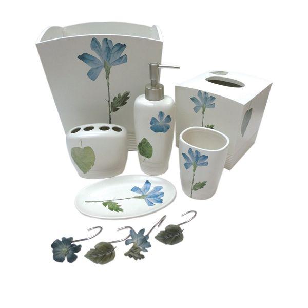 Spa Leaf Bath Accessories, | Spa Leaf Bath, Soap Dishes, Wastebasket By  Croscill
