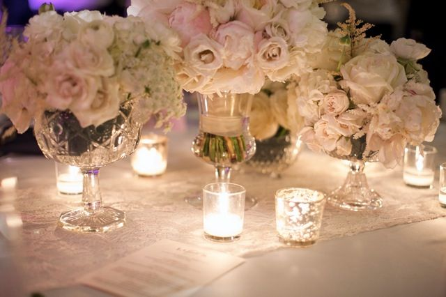 beige, blush and gray wedding centerpieces | Laura & Steve » Cream and ivory centerpiece bu Fleur Inc, Photo by ...