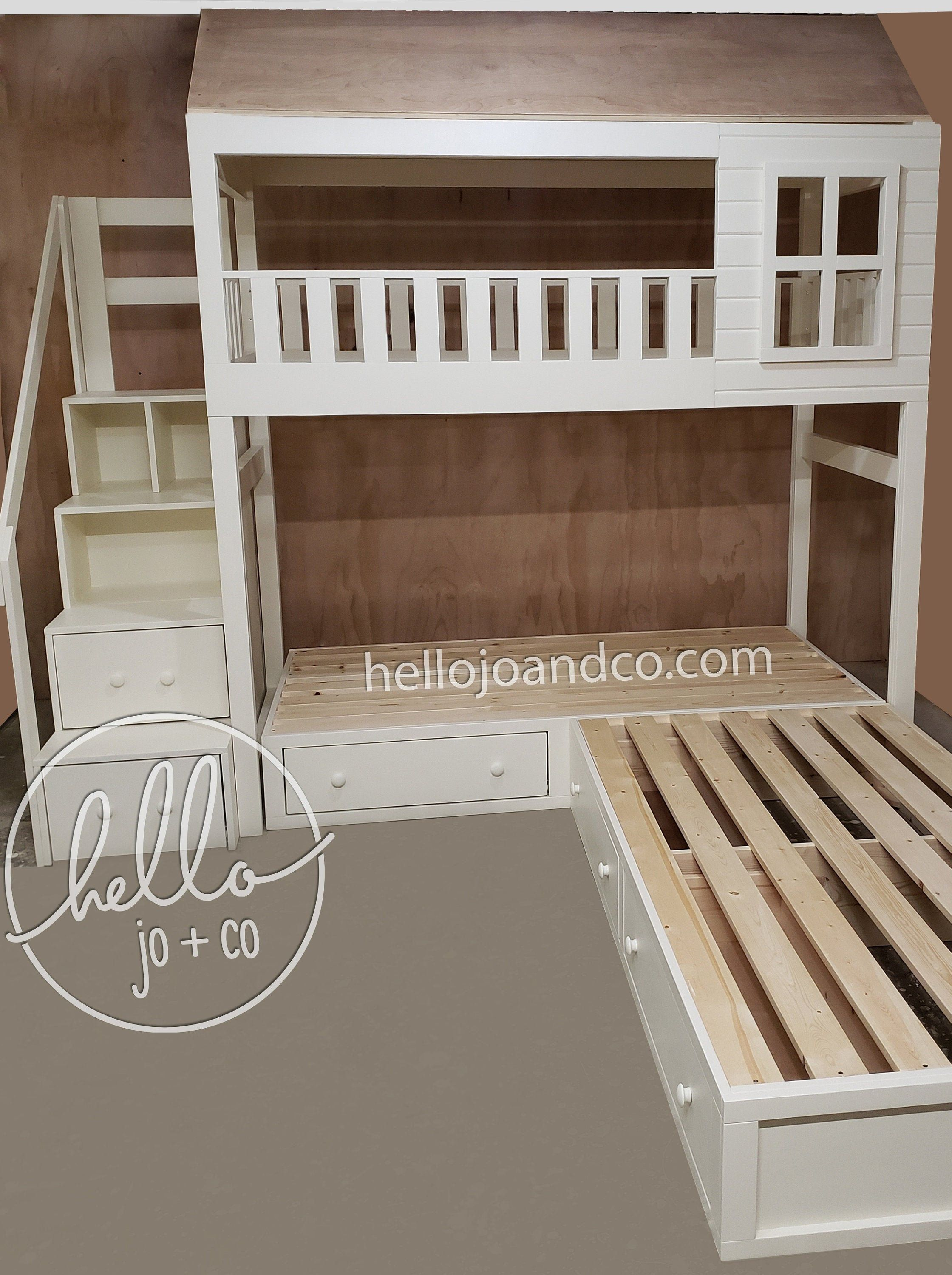 Solid wood cottage triple bunk bed with stairs and storage