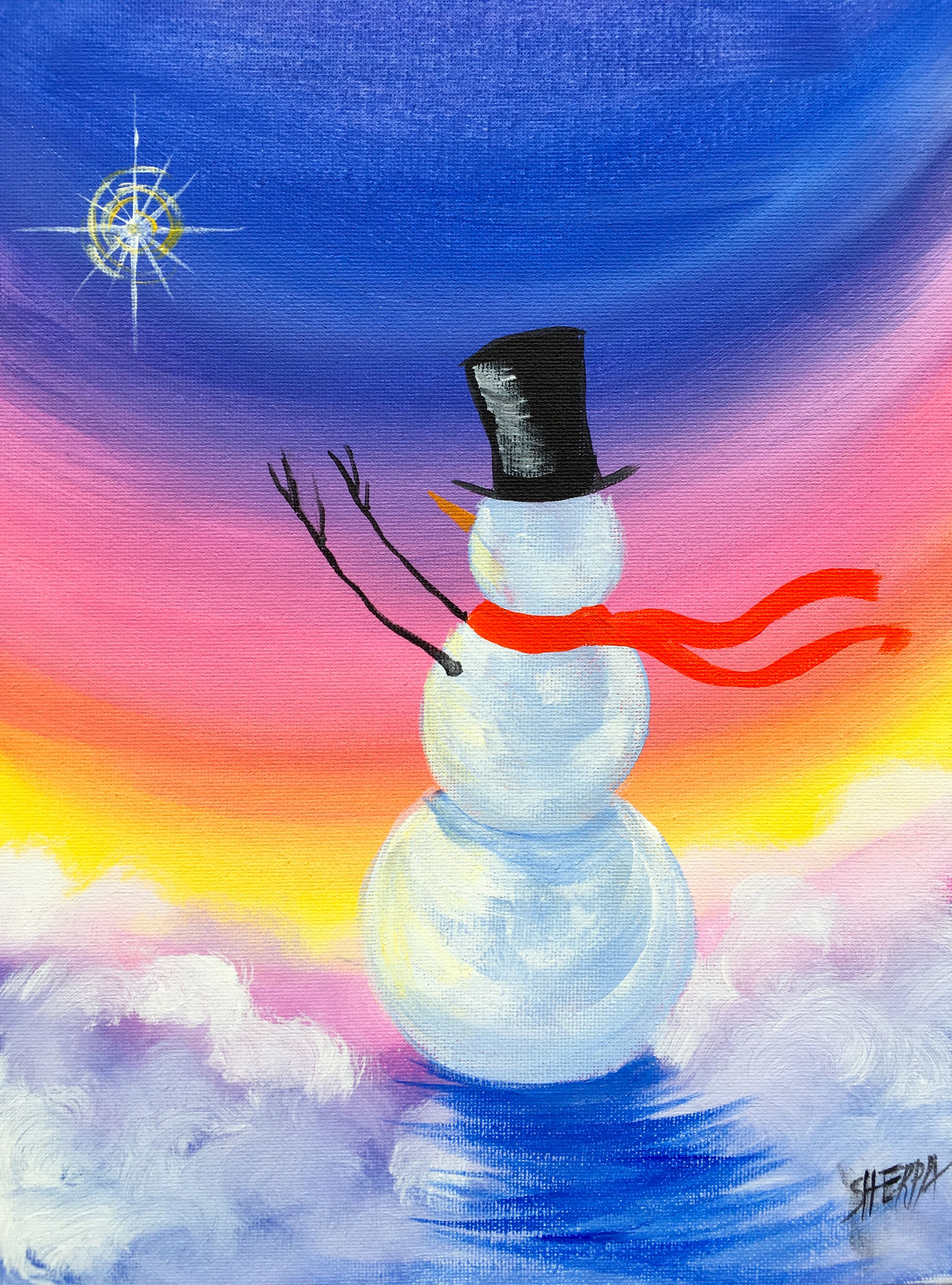 Simple snowman christmas step by step acrylic painting on for Easy canvas paintings for beginners step by step