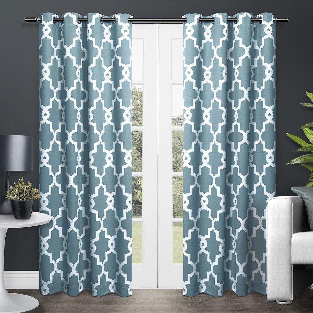 inch teal blue white moroccan curtains panel pair set light blue