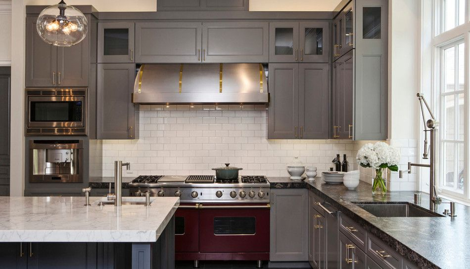 Love The Gray Cabinets With The White Island Countertop.