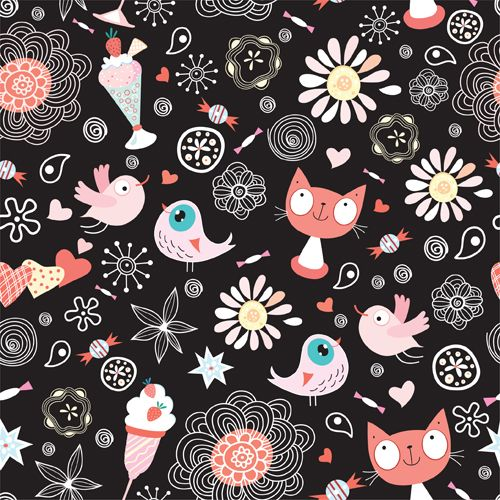 Funny Cat Pattern Vector 02