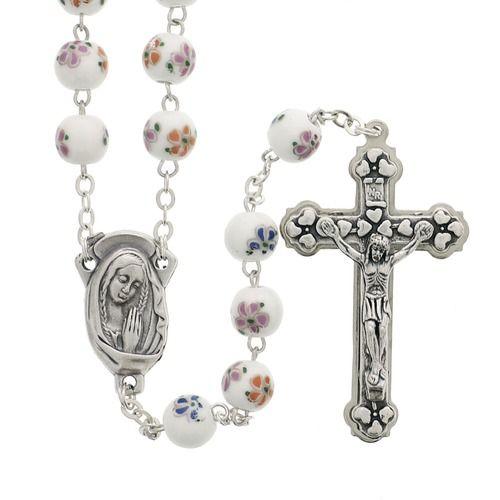Floral Ceramic Bead Rosary